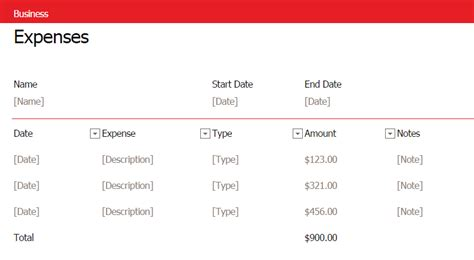 excel business expense template simple business expense template