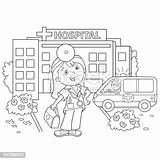 Coloring Doctor Outline Cartoon Hospital Near Pages Ambulance Vector Clipart Similar Clip Thinkstockphotos Fr sketch template