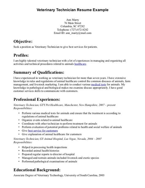 Exles Of Veterinarian Resumes by Cv Template Veterinary Student Http Webdesign14