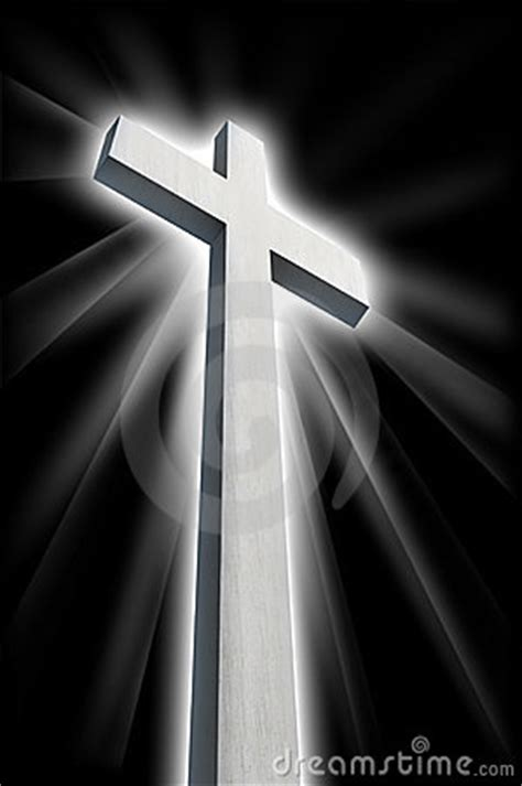 white cross shining  darkness stock images image