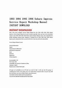 1993 1994 1995 1996 Subaru Impreza Service Repair Workshop
