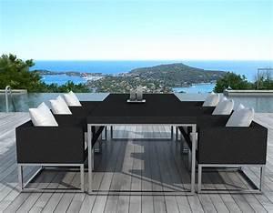 Salon Exterieur Design : salon de jardin design 1 table 6 fauteuils ~ Teatrodelosmanantiales.com Idées de Décoration