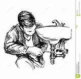 Plumber Sketch Hand Vector Illustration sketch template