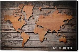 Carte Du Monde Bois : tableau sur toile carte du monde sculpture sur bois planche pixers nous vivons pour changer ~ Nature-et-papiers.com Idées de Décoration