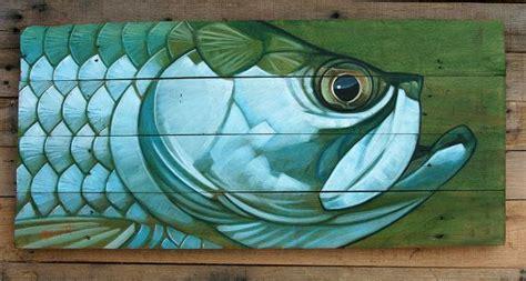 pintura de tarpon en panel de madera por