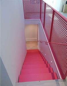 Shadow, Line, Along, Stairs, Perforated, Steel, Railing, Powder, Coated