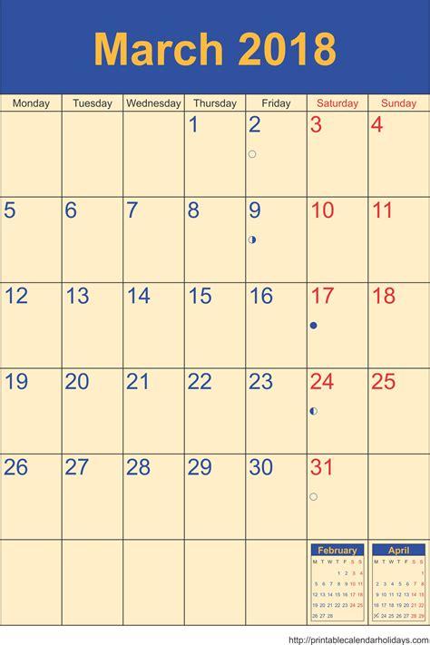 march calendar template portrait printable
