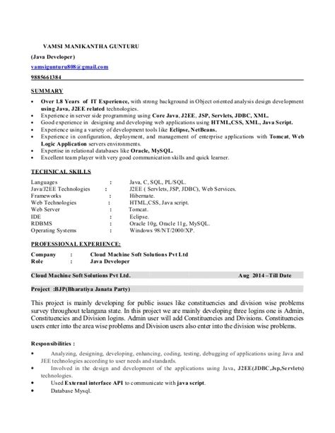 Resume 1 Year Experience Java by 1 8 Years Experience In Java