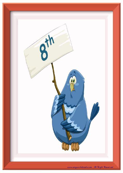 ordinal numbers esl printable flash cards worksheets