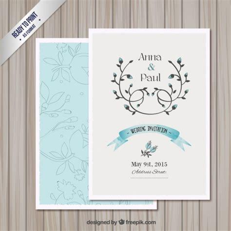 Wedding invitation card template Free Vector