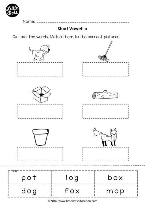 free vowel o worksheet and activity for preschool or