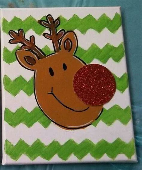 reindeer canvas painting christmas times  comin
