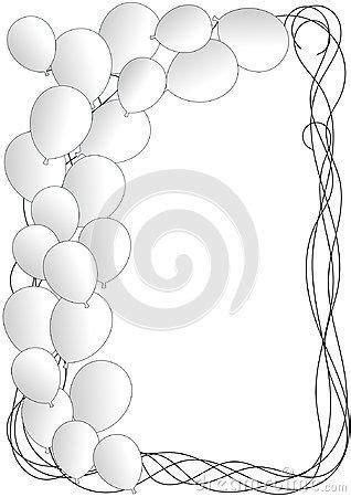 white party balloons frame border invitation card