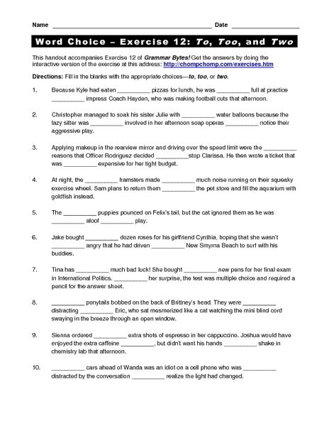 Word Choice Worksheets The Best Worksheets Image Collection  Download And Share Worksheets