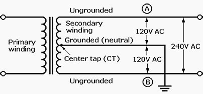 Single Phase Transformer Wiring Connection by Secondary Of A Single Phase Transformer Provides 240 V