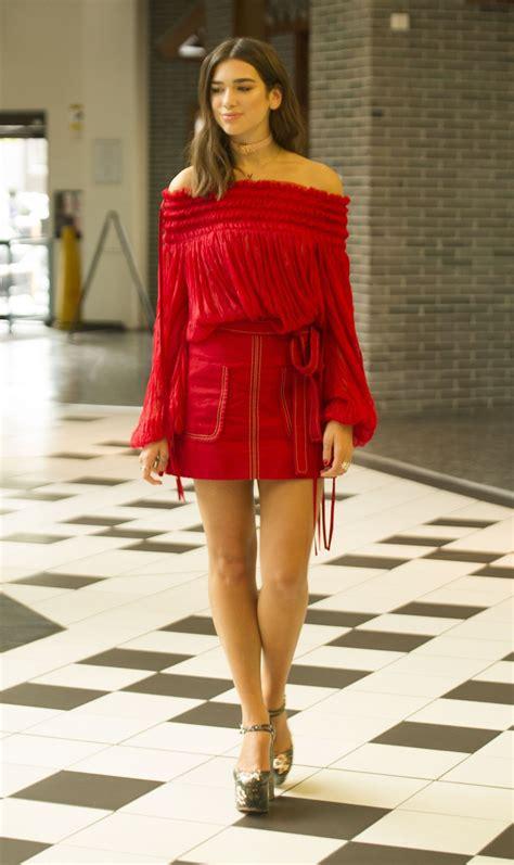 dua lipa  red mini dress london