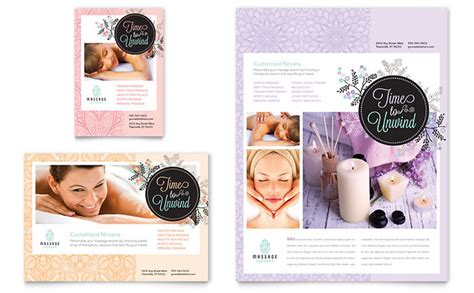 massage flyer ad template design