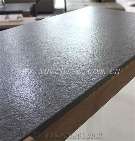 Flamed and Brushed Finish Shanxi Black Granite Tabletop