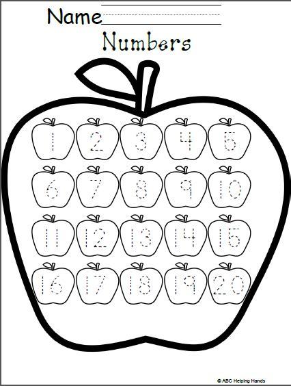 Free Numbers Worksheet  Editable Apples Theme  Kindergarten Math  Pinterest Worksheets