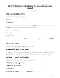 Exemple Contrat De Location Meublee Contrat De Location Meubl 233 E Mod 232 Le Bail Meubl 233 224