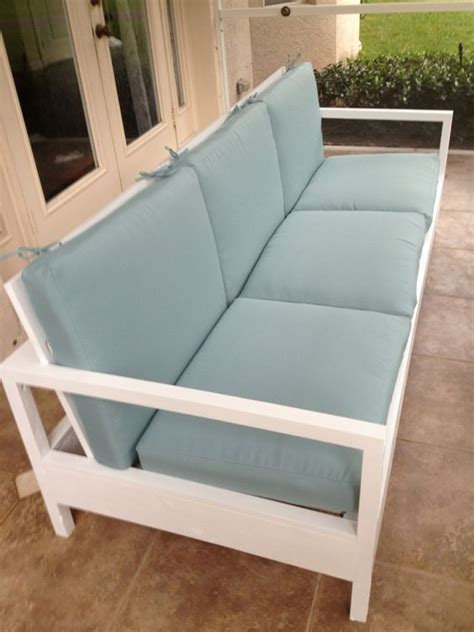 simple white patio sofa    home projects