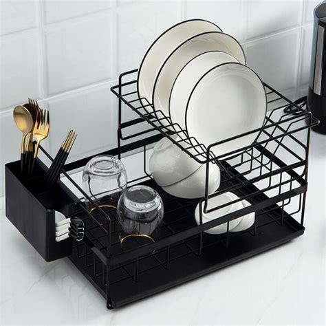 tier dish drying rack countertop dish rack large capacity  dish drainer chopstick utensil