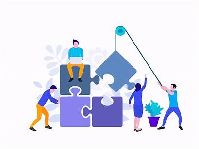 Teamwork Flat Team Dribbble Animated Puzzle Proyecto