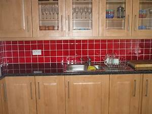 Red backsplash kitchen pinterest for Red kitchen tiles