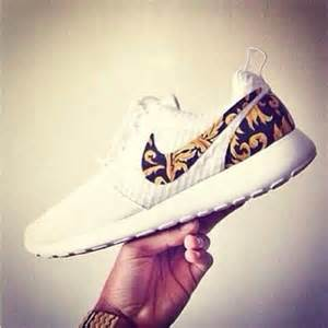 Gold and White Nike Roshe Run Floral