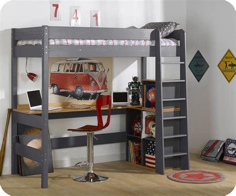 lit à étage avec bureau lit mezzanine clay gris anthracite avec bureau