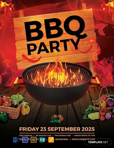 bbq party flyer template word psd apple pages
