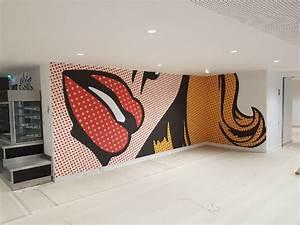 Tissu Mural Tendu : toile tendue murale modern plafond toile tendu haus design peinture abstraite jaune gris blanc ~ Nature-et-papiers.com Idées de Décoration