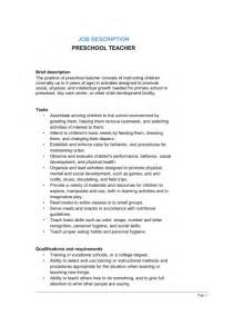 Description Of Preschool Duties For Resume by Preschool Description Template Sle Form Biztree