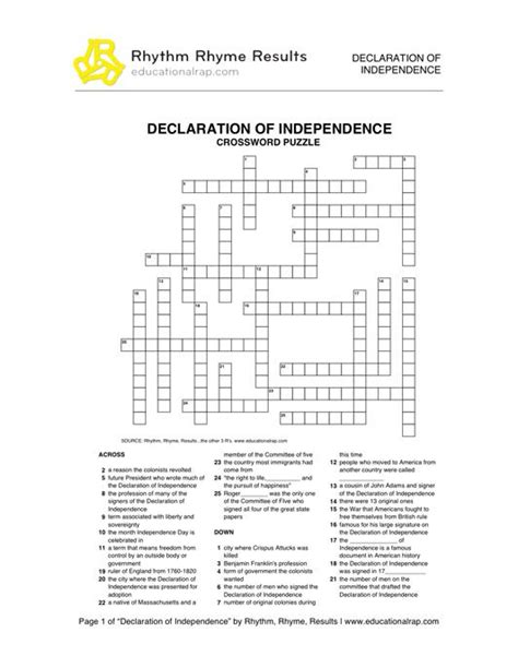declaration of independence song with free worksheets