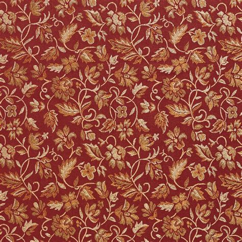 burgundy  coral small floral leaf damask upholstery fabric