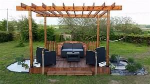 terrasse et pergola en palette et bois de recuperation With amazing comment monter une tonnelle de jardin 0 comment fabriquer une tonnelle de jardin en bois