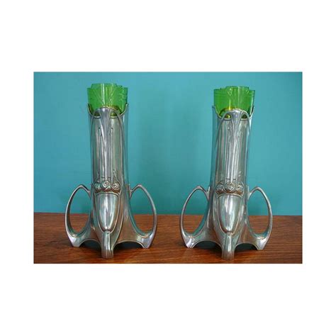 Pewter Vases Wholesale by Wmf Pair Of Pewter Vases With Original Green Glass
