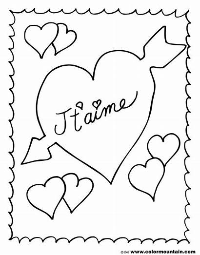 French Coloring Valentine Pages Colouring Sheet Valentines