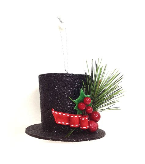 holiday cheer black top hat with berries ornament jo ann
