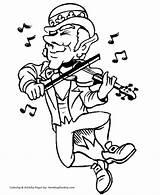 Coloring Pages St Patrick Leprechaun Patricks Fiddle Dancing Saint Honkingdonkey Shamrocks sketch template