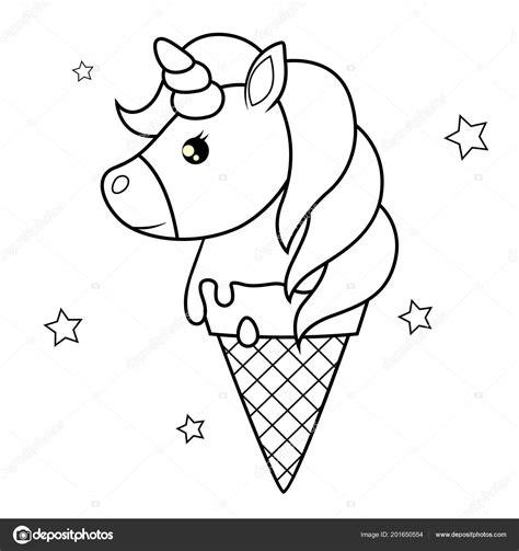 cute cartoon unicorn ice cream black white vector