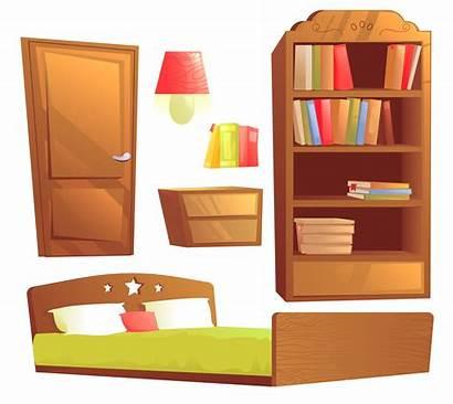 Cartoon Bedroom Furniture Interior Illustration Modern Vector