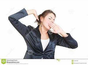 Sleepy Business Woman Yawning And Stretching, Isolated ...