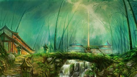 Fantasy Art, Forest, Temple, River Wallpapers Hd / Desktop And Mobile Backgrounds