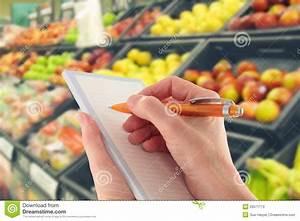 Writing Shopping List By Supermarket Fruit Stock Image ...