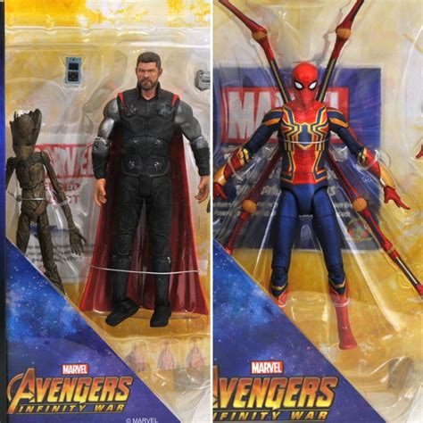 marvel select infinity war iron spider thor groot