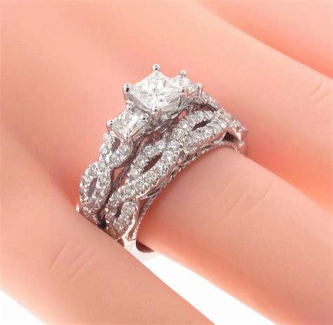 vip jewelry art 1 89 ct 3 stone princess cut diamond engagement bridal ring in braided setting