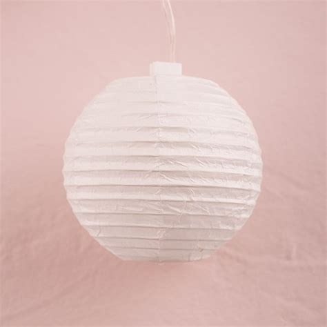 string of lights with white paper lanterns battery