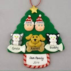 couple with 3 pets personalized christmas ornament calliope designs