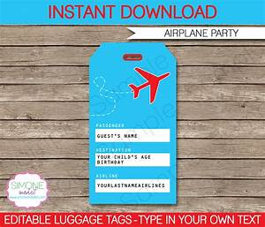 airplane party luggage tags favor tags thank you tags With airline luggage tag template